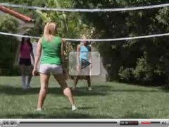 Four girls volley