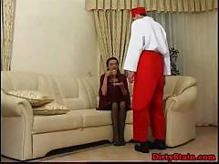 Lonely mom seduces her son's friend and fucks on the couch