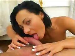Sandra Romain sucks down his cock, fucks him and finishes by sucking