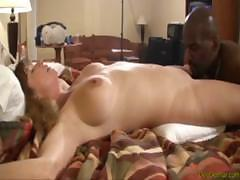 White wifey Dee Delmar cheats her husband with huge black fucker