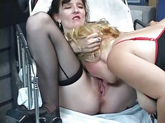 Two older sluts lick each other's pussies then submit to nipple torture
