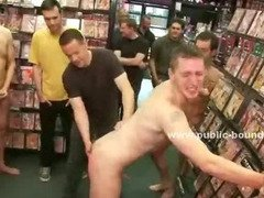 Men in chains leish are walked naked in four legs like puppies in the middle of pervert gay crowd
