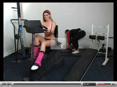 British slut Michelle B gets fucked in the gym
