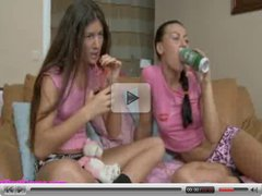 Teen lesbians licking pussy and using electric toys