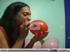 Balloon Blowing Teen With Big Tits