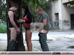 Gangbang - a gangbang group threesome on the street PART 1