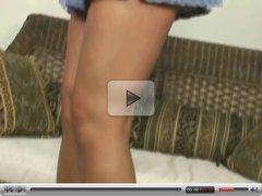 Amateur blonde Kaira in mini skirt masturbation scene