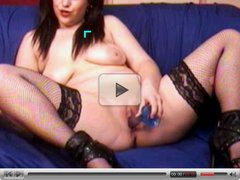 Brunette cam girl with toy