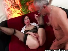 Mature lady in stockings fucks older man