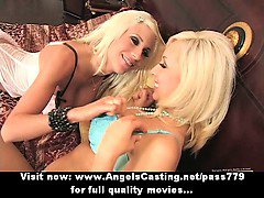 Adorable sexy blonde lesbian couple with big tits touching