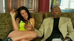 Big black man gets seduced by a horny brunette whore
