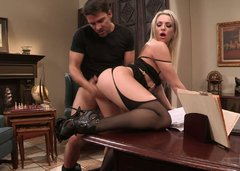 Admirable blondie in high heels gets fucked in missionary position