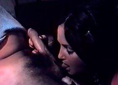 Tempting brunette with hairy pussy masturbates and fucks hard