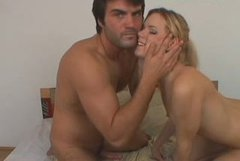 Zealous blonde babe with natural tits treats her boy with a blowjob