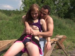 Horny amateur girl Anouk seduces a working man for a sex
