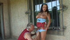 Bosomy brunette harlow kneels down in front of kinky daddy to mouth fuck his cock