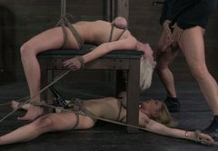Cherry Torn and her girlfriend are tied and the guy makes her deepthroat his dick