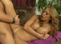 Busty blonde Mia Lelani tries to lick her tits while is poked in missionary position