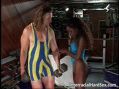 Interracial sex in the gym where muscled