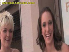 Two Blondes Girls Share Big Black Cock