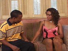 Pretty Ebony Milf fucks and drink cum from Black boy