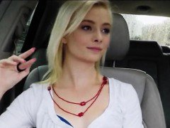 Skinny amateur blonde teen Maddy Rose nailed in the car
