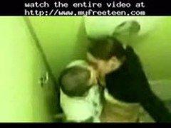 Teens Quick Shag In A Toilet  teen amateur teen cumshots swallow dp anal