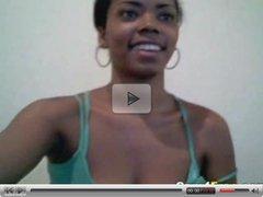Gorgeous Black Girl On Her Webcam