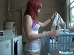Busty Redhead emo dildo fucking in the shower