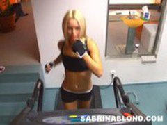 Cutie Sabrina Blond playing with her pussy after work out