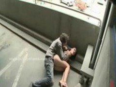Slut walks around naked before getting brutally fucked in public fetish sex