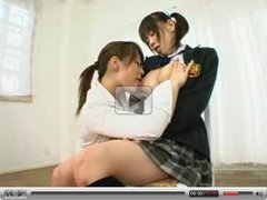 Japanese lesbian sucking and pumped big tits