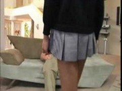 Hot Brunette schoolgirl fucked on a couch