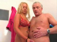 Busty Blond German Amateur Teen give hot Tugjob