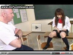 Asian schoolgirl has to masturbate