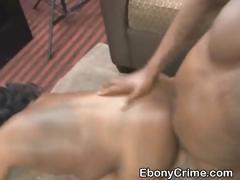 Black Ghetto Slut Gets Drilled Roughly On Sofa