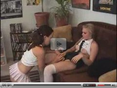 Nerdy schoolgirl sucks and rides a strap-on