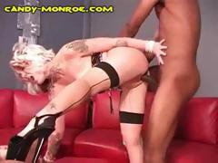 Cuckolded and sissified husband watches his wife fuck a black man